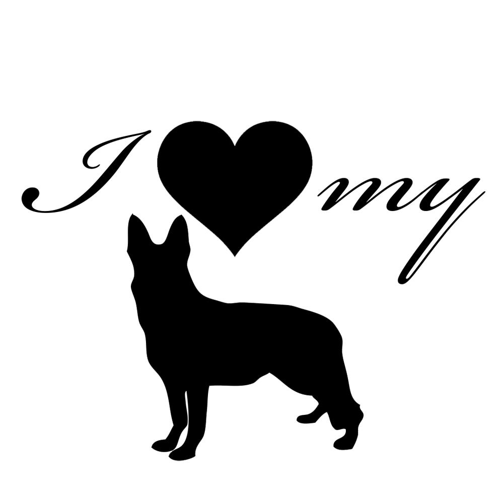 I Love My German Shepherd Dog Silhouette Heart Vinyl